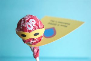 superhero tootsie pop card