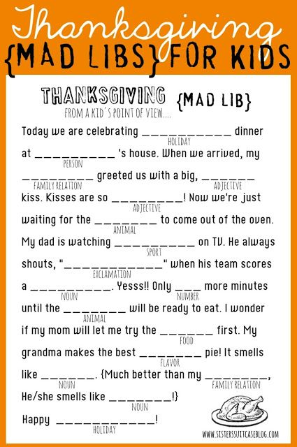 Thanksgiving mad libs for kids