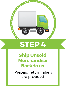 Step 4 Ship unsold merchandise back to us using our prepaid labels that are provided