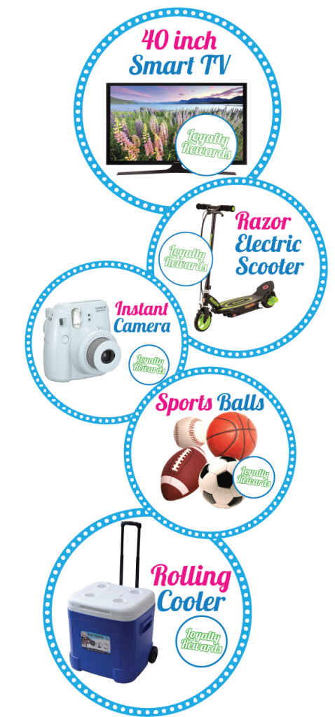 Smart TV's, Razor Scooters, Instant Cameras, Sports Balls, Rolling Coolers. benefit the school raise additional funds