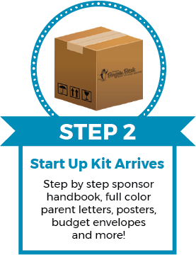 Step 2 Step by step sponsor handbook, full color, parent letters, posters, budget envelopes and more!